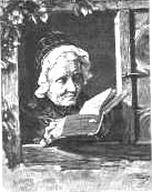 Old lady reading book in window of her home. 1872